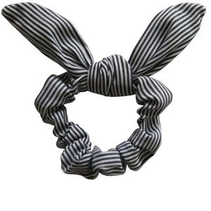 Accessories - NEW Grey and white striped rabbit ear scrunchie